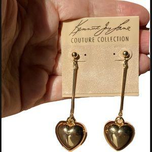 Kenneth Jay Lane 22K Gold Plated Heart Earrings